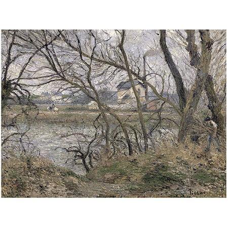 Trademark Fine Art  Oise Banks  Pontoise  1878  Canvas Art By Camille Pissarro