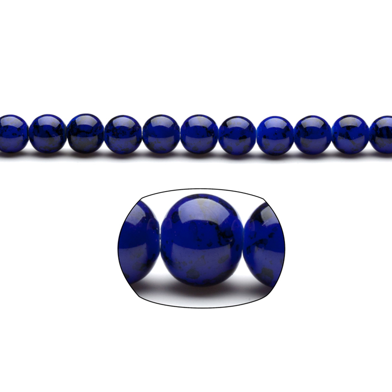 Dark Blue Marble Grain Patterned Glass Beads 10mm Round 10x16Inch/pack