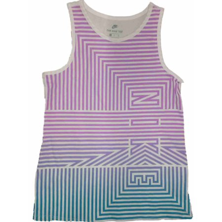 Nike Girls Purple & Blue Stripe Athletic Tank Top T-Shirt Work Out Shirt