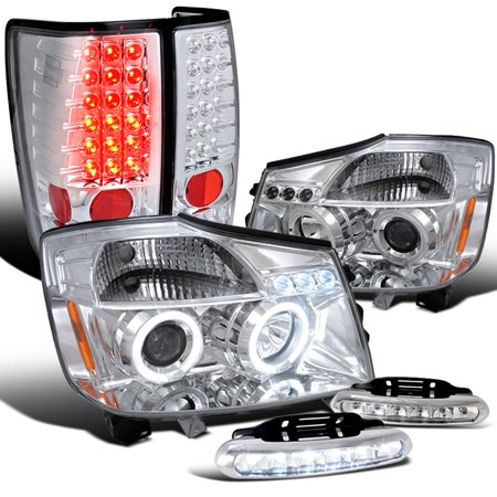 Spec-D Tuning For 2004-2015 Nissan Titan Chrome Halo Led Projector Headlights, Led Tail Lights, Bumper Lights 2004 2005 2015 (Left+Right)