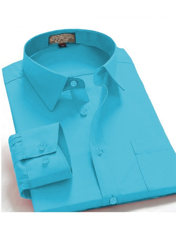 Men's Regular Fit Long Sleeve French Cuff One Pocket Dress Shirt In Turquoise