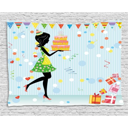 Birthday Decorations Tapestry, Young Mother Carrying Delicious Cake Presents Dots Flags Cartoon Style, Wall Hanging for Bedroom Living Room Dorm Decor, 60W X 40L Inches, Multicolor, by