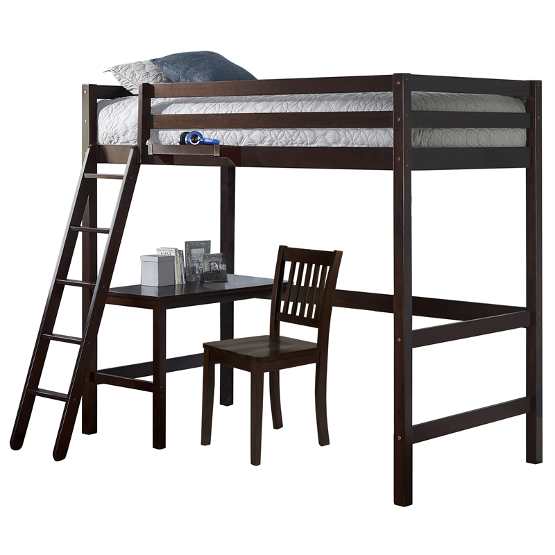 NE Kids Hillsdale Caspian Twin Study Loft with Chair and Hanging Nightstand