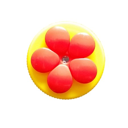Nectar Dots Handheld Hummingbird Feeder 1 Port Birdfeeder Yellow Cap, Red Flower ()