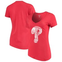 Women's 5th & Ocean by New Era Red Philadelphia Phillies V-Neck Team T-Shirt