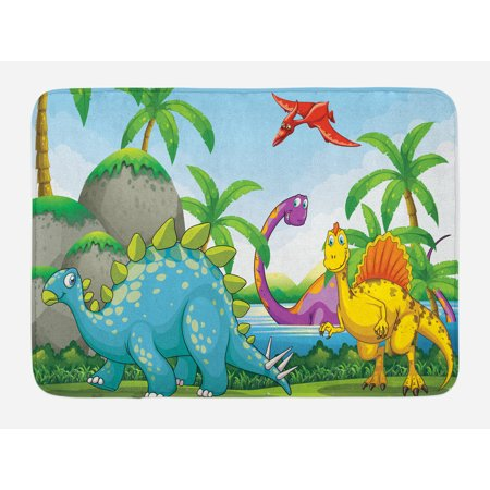 Jurassic Bath Mat, Dinosaurs Living in the Jungle Illustration Palm Trees Lakeside Stones Fun Artwork, Non-Slip Plush Mat Bathroom Kitchen Laundry Room Decor, 29.5 X 17.5 Inches, Multicolor, Ambesonne