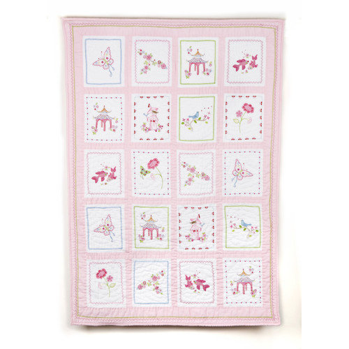 Whistle and Wink Pink Pagoda Crib Quilt