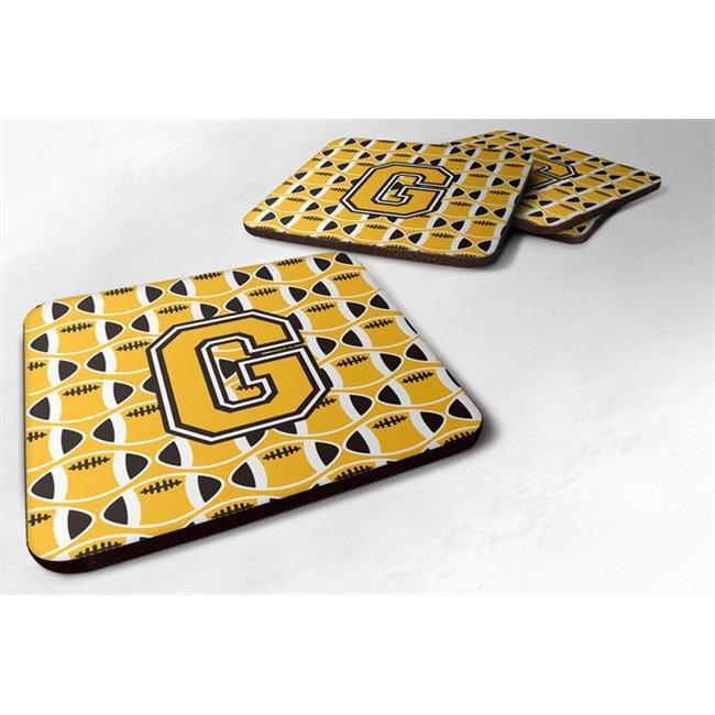 Carolines Treasures CJ1080-GFC Letter G Football Black, Old Gold & White Foam Coaster - Set of 4 - image 1 of 1