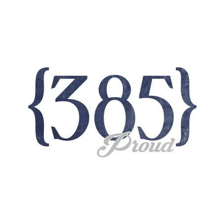 Salt Lake City, Utah - 385 Area Code (Blue) Print Wall Art By Lantern Press