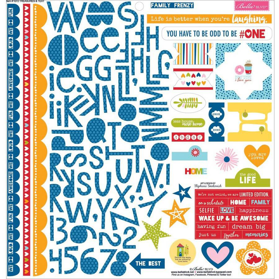 Bella Blvd Family Frenzy Sticker 12x12 Treas&Text