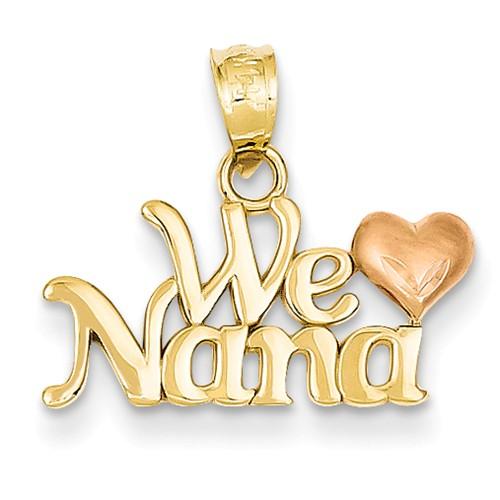 14k Two Tone Gold We Love Nana Pendant