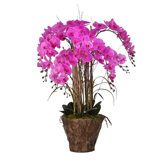 "38"" Tall Orchid Arrangement Artificial Lifelike Faux in Fiberstone Pot By Minx NY"