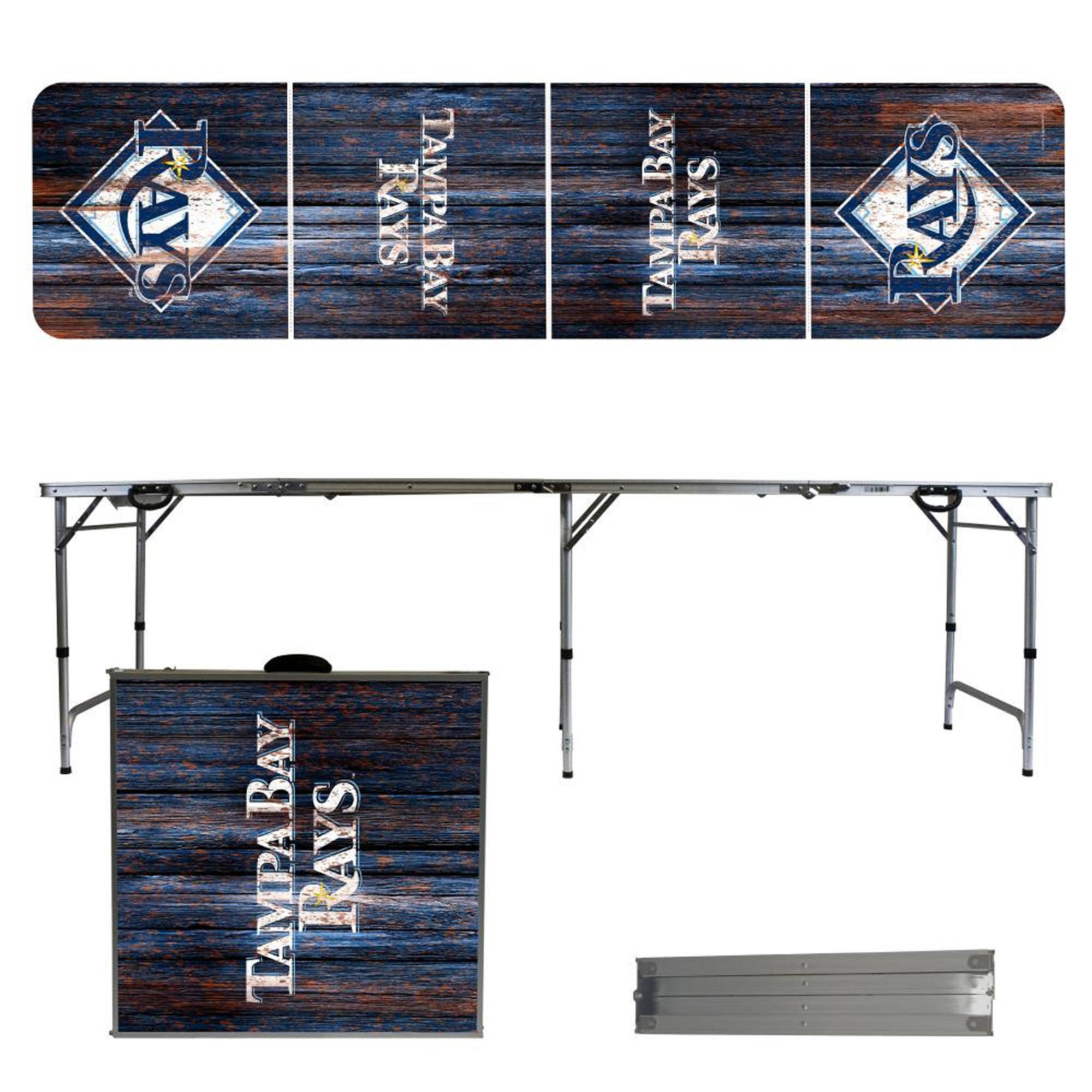 Tampa Bay Rays Weathered Design 8' Portable Folding Tailgate Table - No Size