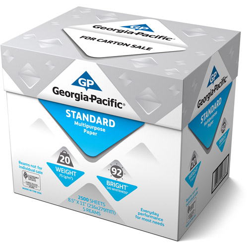 Georgia-Pacific Standard Multipurpose Paper, 8.5 x 11, 20 lb., 92 Brightness, 5 Ream Case, 2,500 Sheets