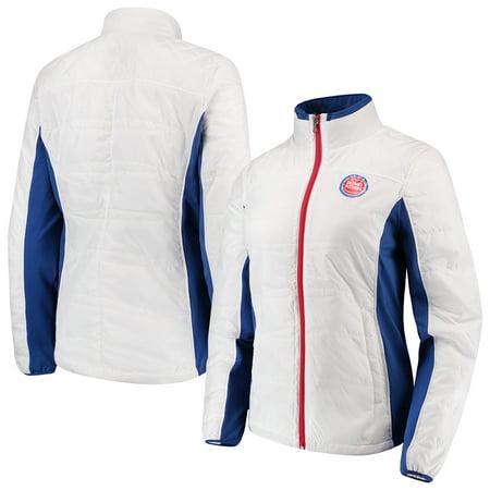 Grand Prix Jacket - Detroit Pistons G-III 4Her by Carl Banks Women's Grand Slam Full-Zip Jacket - White/Blue