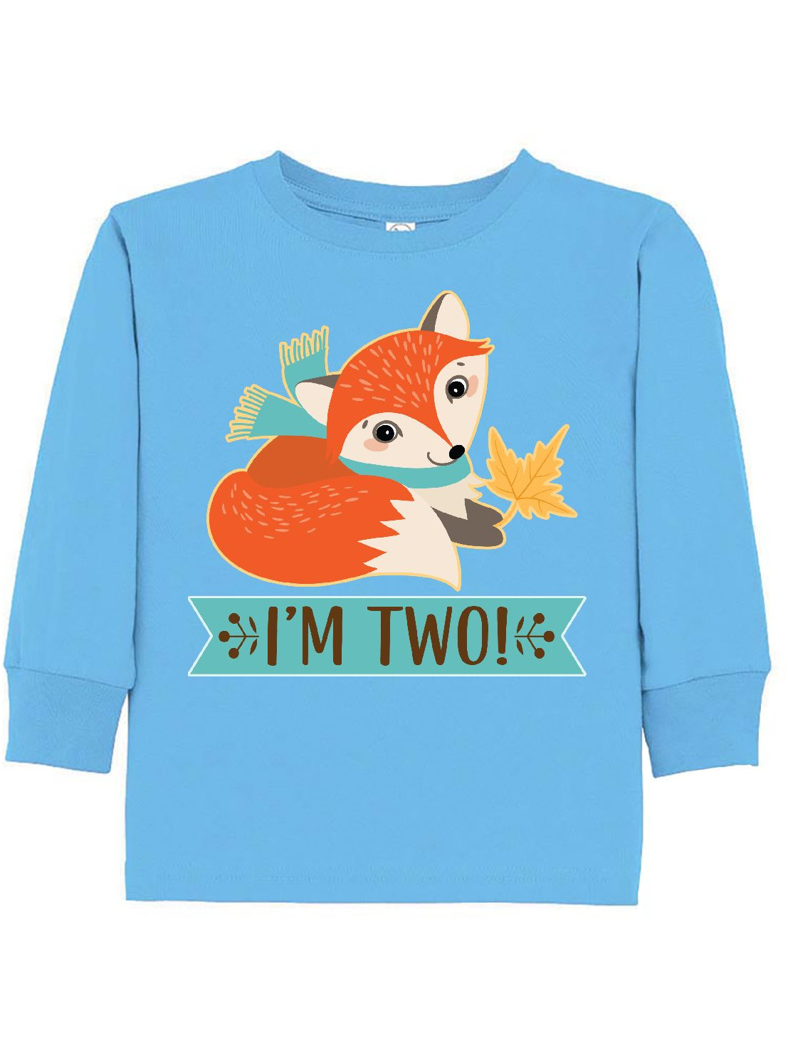 2nd Birthday Woodland Fox I'm Two Toddler Long Sleeve T-Shirt