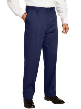 Men's Big & Tall Classic Fit Wrinkle Free Expandable Waist Plain Front Pants