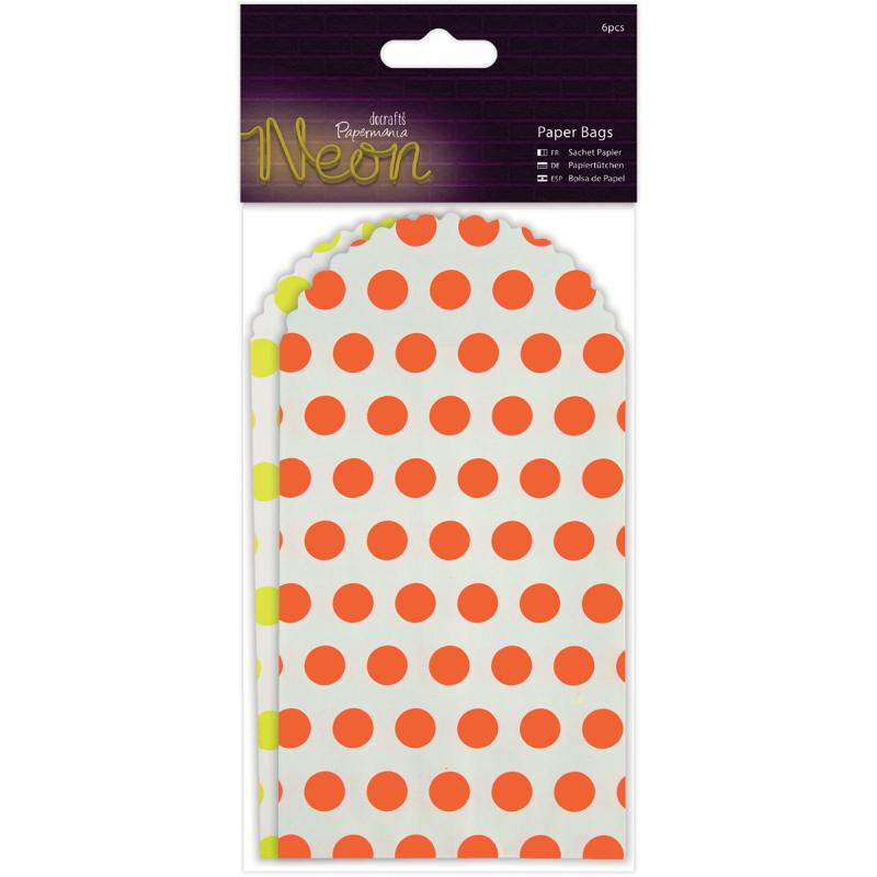 "Papermania Neon/white Paper Bags 6/pkg-6.5""x3.375"", Yellow & Orange"