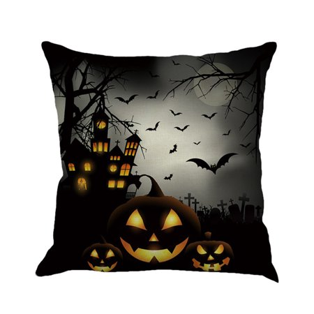 Happy Halloween Pillow Cases Linen Sofa Cushion Cover Home Decor - Happy Halloween Cover Pics