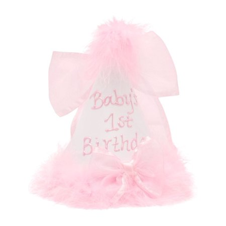 Baby Girls White Pink Fluffy Feather Ribbon First Birthday Cone Party Hat (Thing 1 And Thing 2 Baby Hats)