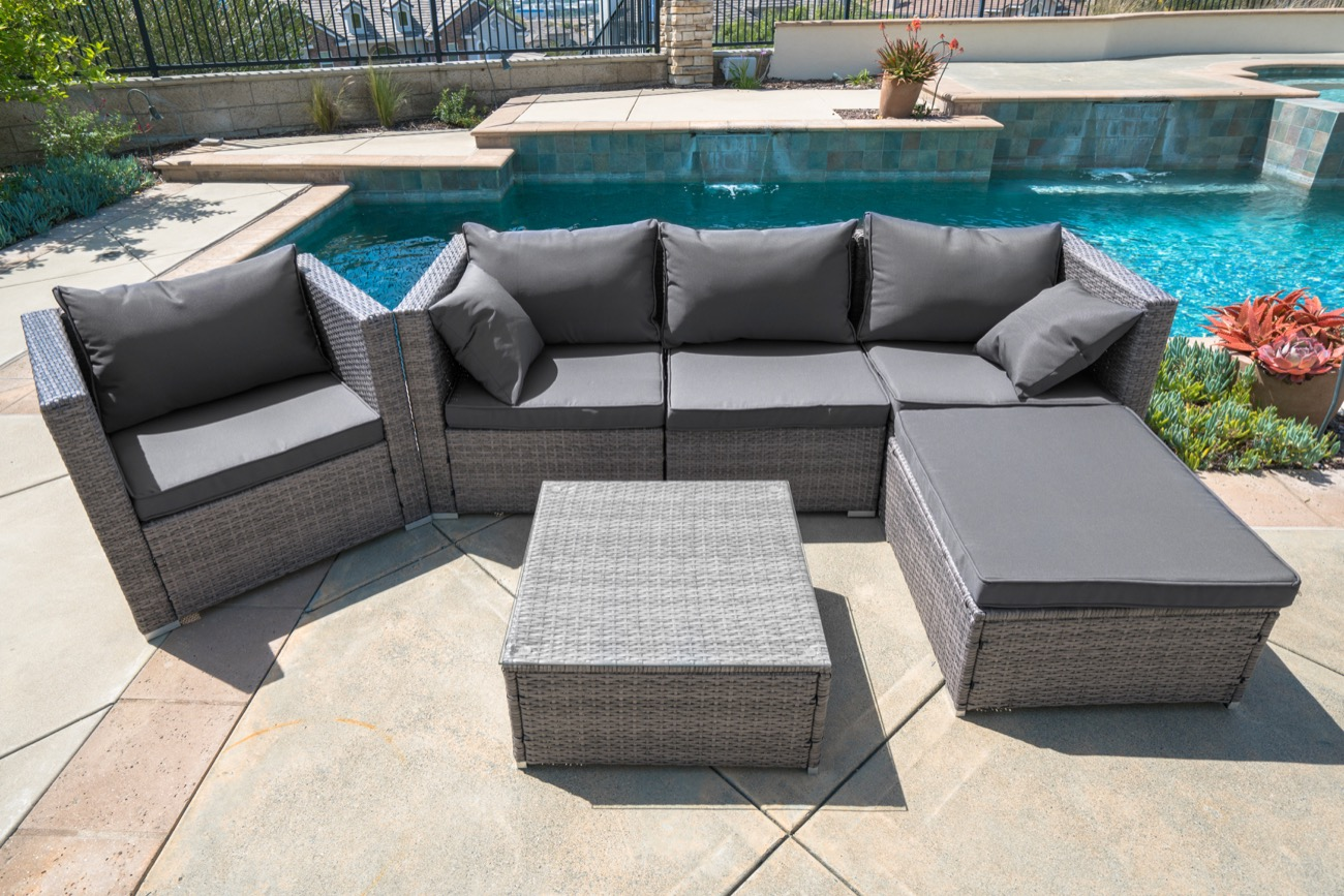 Belleze 6-PC Outdoor Patio Furniture Wicker Rattan Sofa Table Cushion Water Resistant Set by Belleze