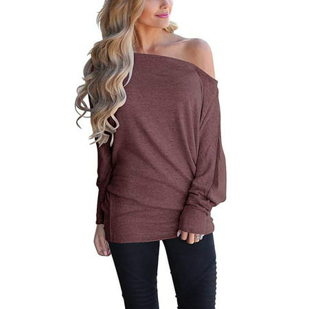 0c854c744ed Vista - Women s Off Shoulder Long Sleeve Oversized Pullover Sweater Knit  Jumper Loose Tunic Tops - Walmart.com