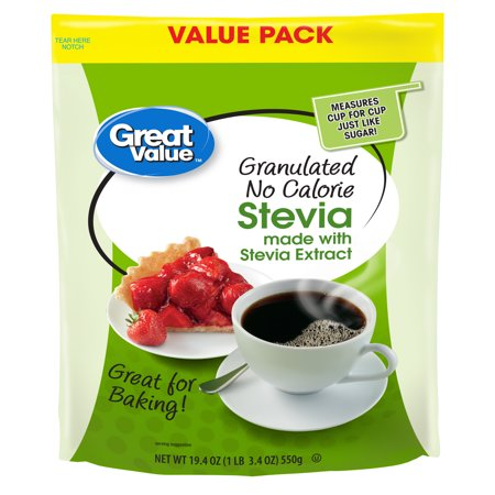 Great Value Granulated No Calorie Stevia Sweetener, 19.4oz Resealable Pouch (Nunaturals Stevia)