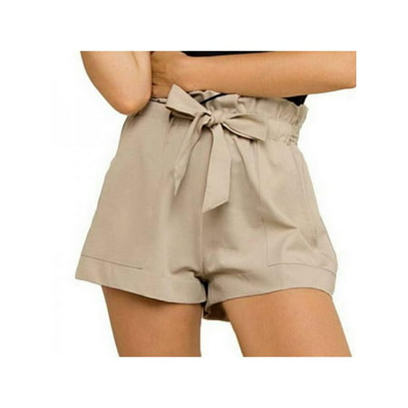 Topumt Women Cozy Ruffle High Waist Casual Shorts - Ruffle Tanga Shorts