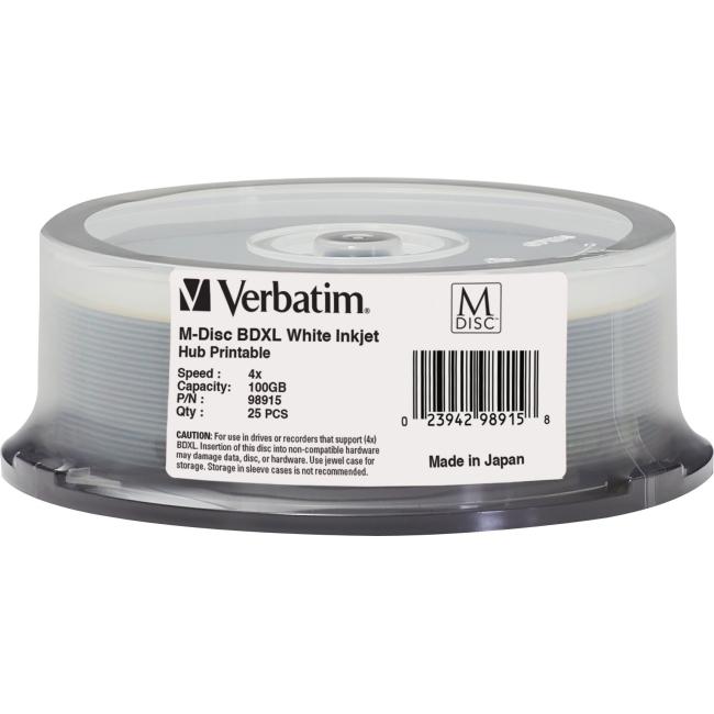 Verbatim M-Disc BD-R 100GB 4X White Inkjet/Hub Printable - 25 Pack Spindle