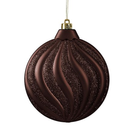 6ct Matte Chocolate Brown Swirl Shatterproof Christmas Disc Ornaments 6 25