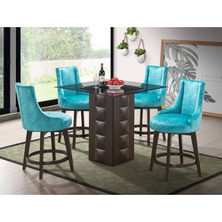 "Walden 5 Piece Counter Height Kitchen Dining Set (40"" Square Pedestal Cappuccino Wood Table & 4 Light Blue Swivel Stools)"