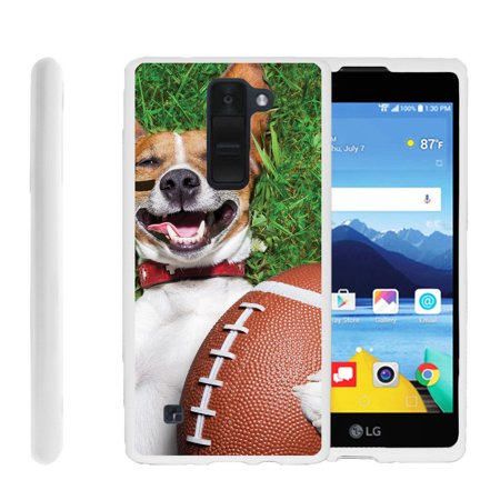 LG K8V, VS500, Flexible Case [FLEX FORCE] Slim Durable TPU Sleek Bumper with Unique Designs - Dog And Football