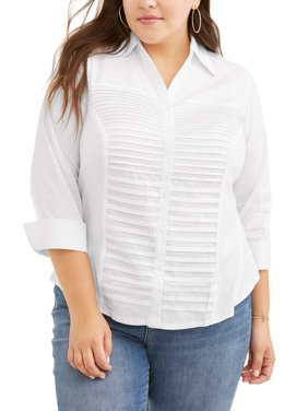 Lifestyle Attitudes Women's Plus Size Knit to Fit Career Pleated Front Button Up Shirt