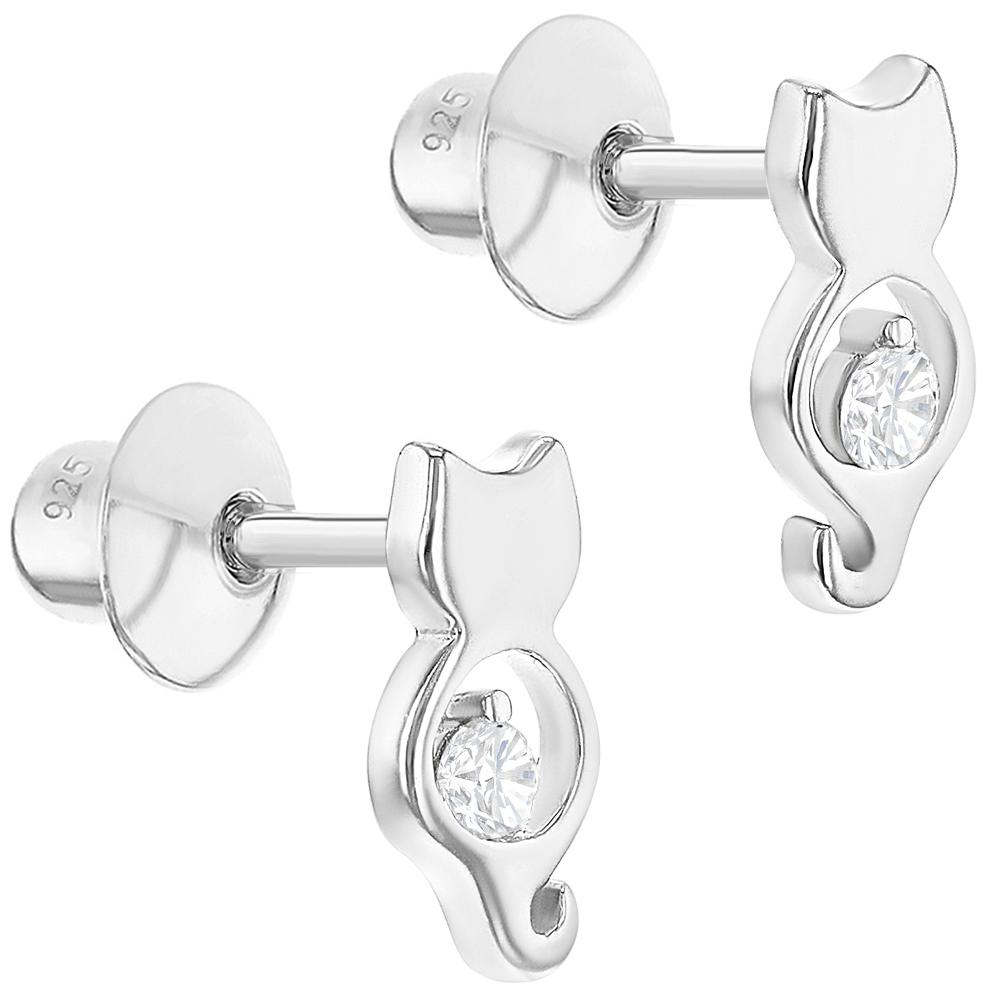 925 Sterling Silver Cat Earrings Clear CZ Kitten Animal Screw Back Girls Kids - image 2 of 5