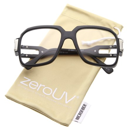 zeroUV - Large Retro Hip Hop Style Clear Lens Square Eyeglasses 54mm - 54mm Bold and stylish, these oversize square sunglasses feature clear lenses and metal accents at the temples. Complete with unique cutouts at the double hinged temples, these iconic retro glasses remain one of our most popular styles. Worn by many celebrities including the hip hop legend Hip Hop, these square eyeglasses are a must-have accessory. Made with a plastic based frame, metal hinges, and polycarbonate UV400 clear lenses.