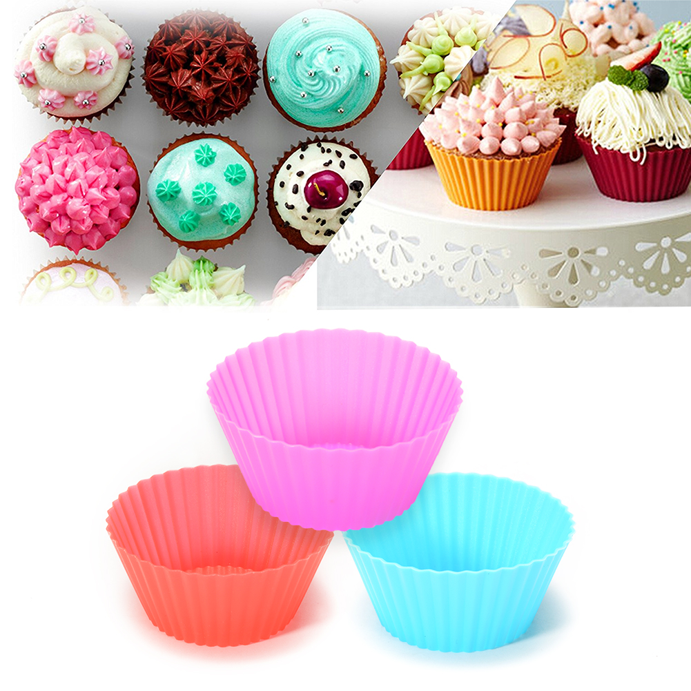 12 Packed Reusable Thicken Silicone Not-stick Cupcake Baking Muffin Cups Cupcake Liners