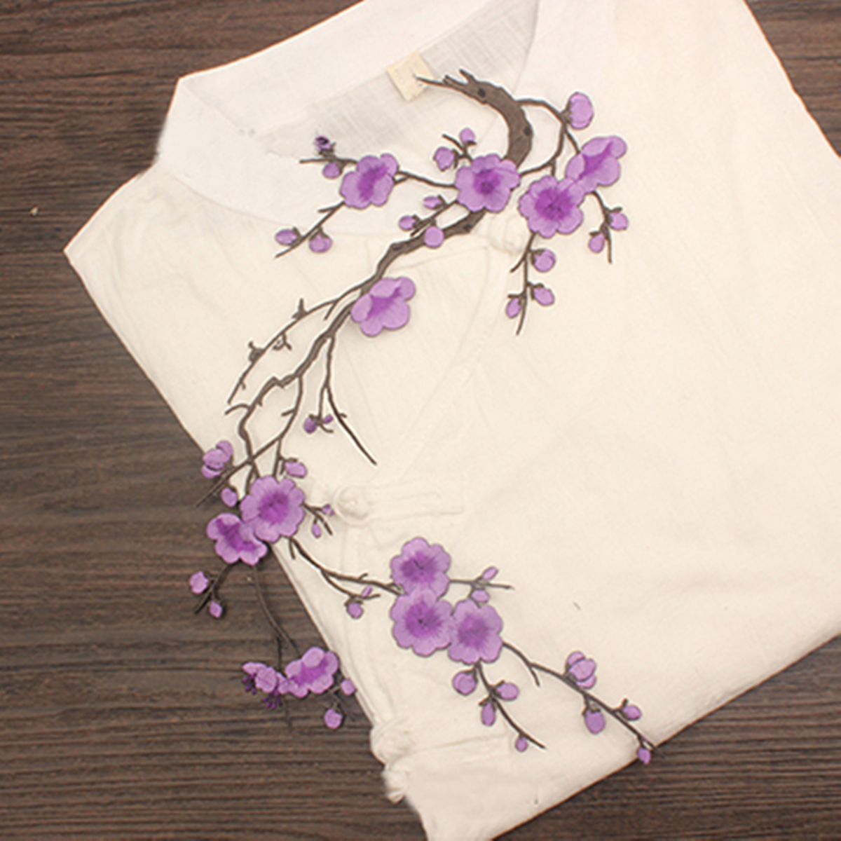 Meigar Cherry Blossom Sakura Flower Flower Applique Embroidery Patch Sticker Iron On Sew Cloth  Embroidery Patches ,Red color