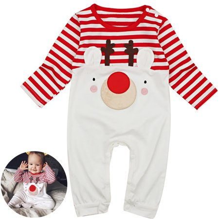 a0a0c77a174 Christmas Baby Girls Jumpsuit Cute Elk Stripe Pattern Baby Playsuit Baby  Romper - Walmart.com