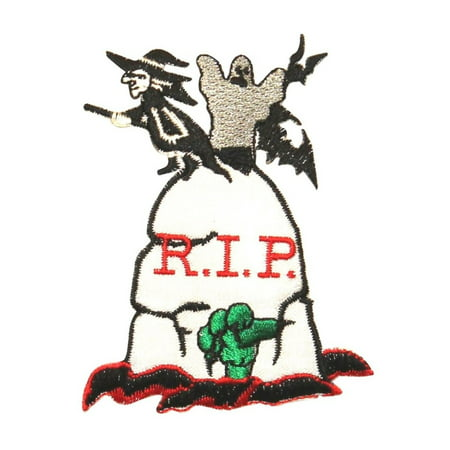 ID 0860 Halloween Gravestone Scene Patch Tombstone Embroidered Iron On Applique](Homemade Gravestones For Halloween)