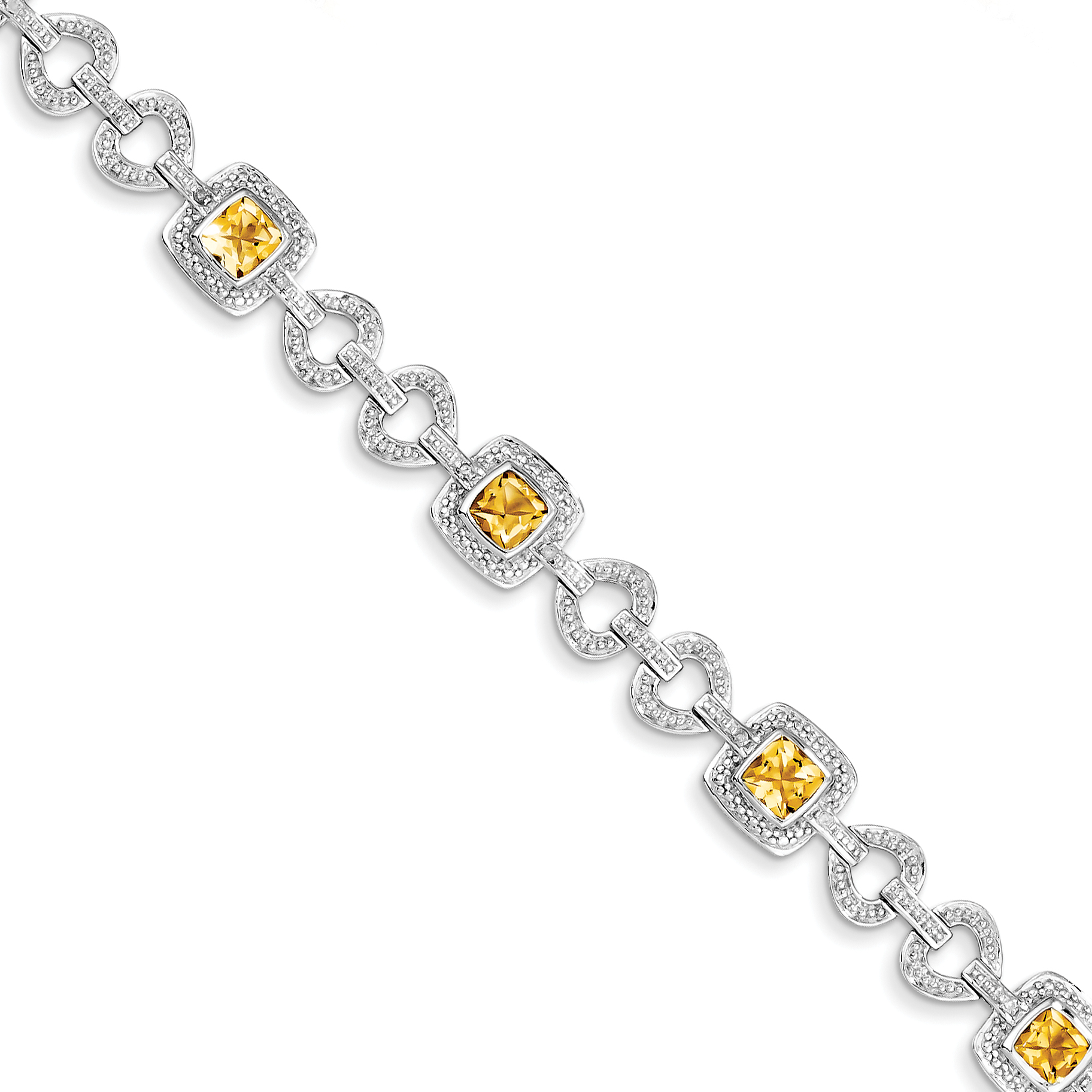 Roy Rose Jewelry Sterling Silver Diamond and Citrine Bracelet ~ Length 7'' inches by