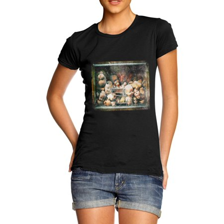 Women's T-Shirt Creepy Dolls Heads Funny Tshirts - Funny And Creepy