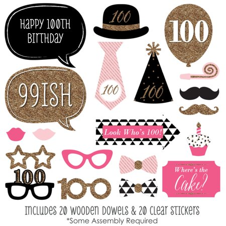 Chic 100th Birthday - Birthday Party Photo Booth Props Kit - 20 Count](100th Birthday Ideas)