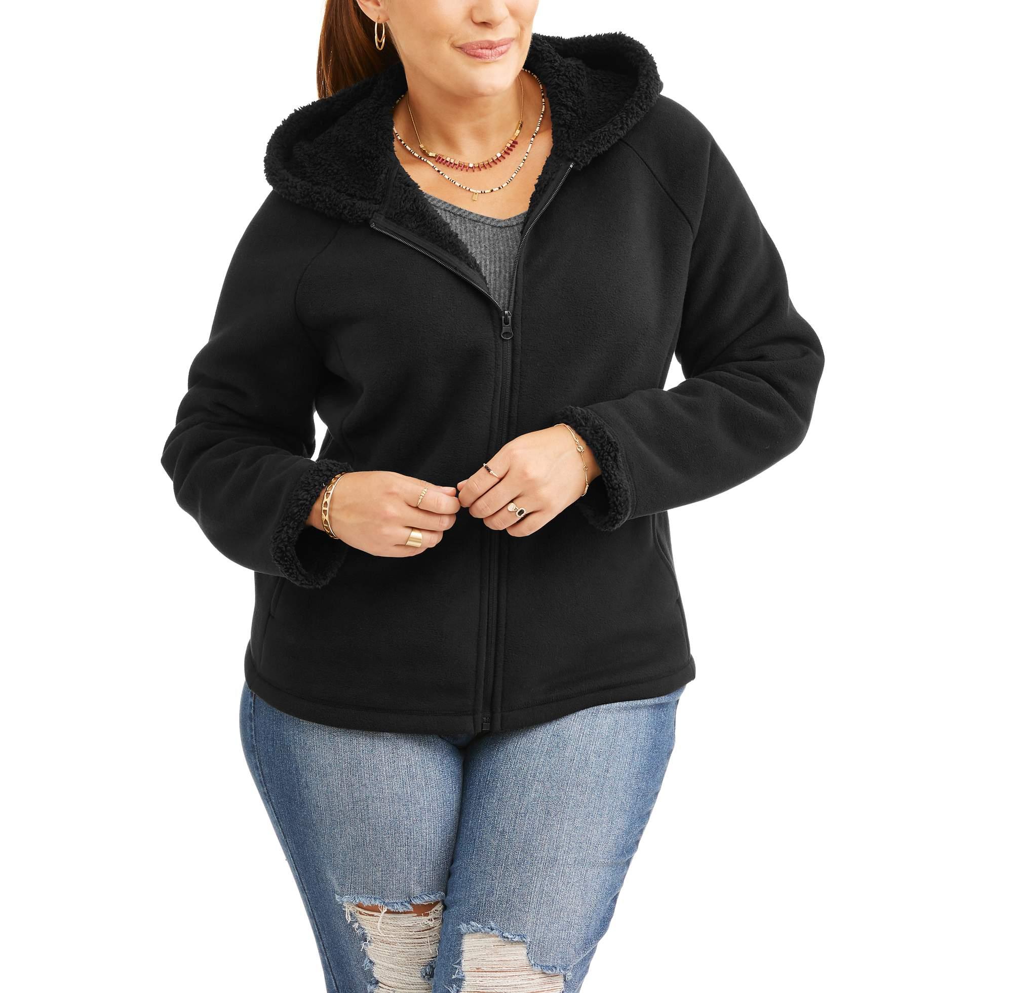 40984956c02c Faded Glory - Faded Glory Women s Plus-Size Microfleece Hoodie With ...