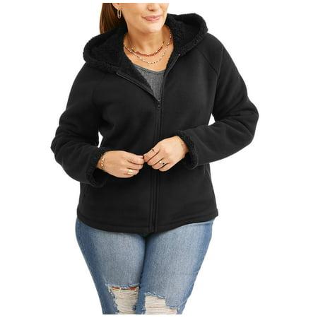 7ba0dedf3e5 Faded Glory - Faded Glory Women s Plus-Size Microfleece Hoodie With Cozy  Sherpa Lining - Walmart.com