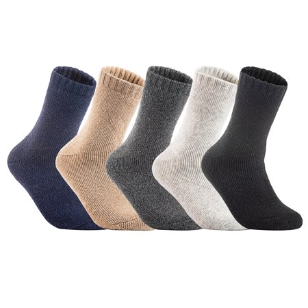 Lian LifeStyle Women's 3 Pairs Extra Thick Wool Boot Socks Crew Plain Size 6-10 Assorted