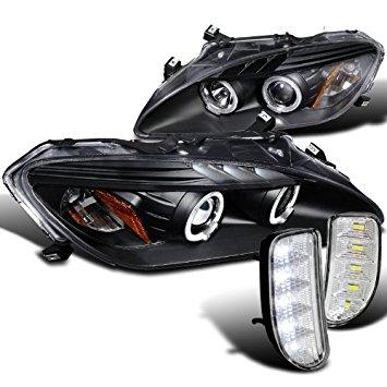 Honda S2000 Ap2 Black Led Halo Projector Headlights W/ Led Drl Bumper Lamp