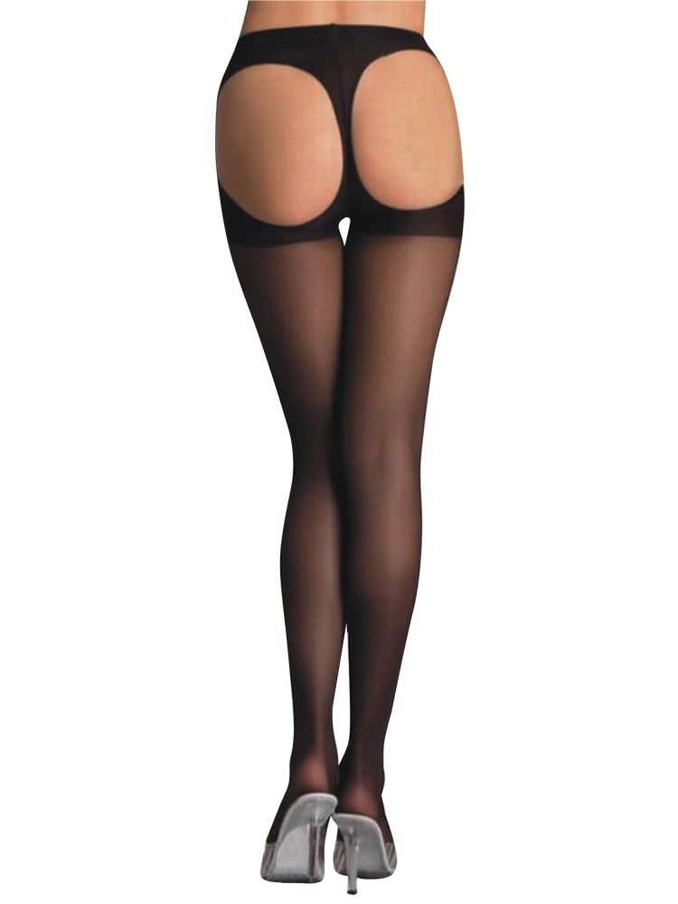 JenniWears Women's Sexy Crotchless Suspender Pantyhose Stockings