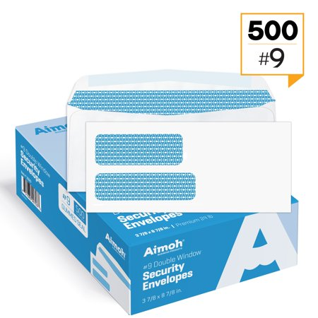 1 Ounce Envelope (#9 Double Window Security Tinted Gummed Envelopes - 3‐7/8 x 8‐7/8 - 500 count (30129))