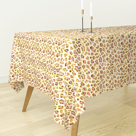 Tablecloth Leopard Gold Glitter Metallic Pink Fancy Cotton Sateen - Pink And Gold Tablecloth