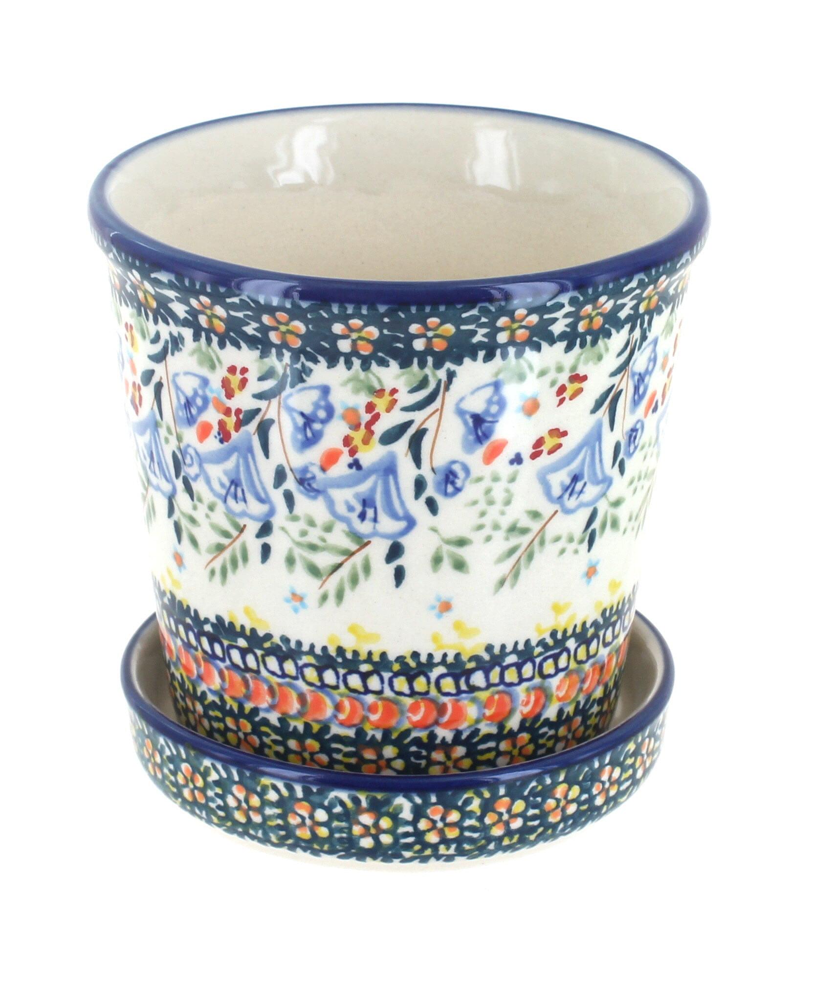 Blue Rose Polish Pottery Periwinkle Flower Pot Walmart Com Walmart Com